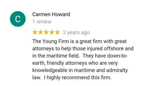 Former client Carmen reviews maritime attorney Tim Young