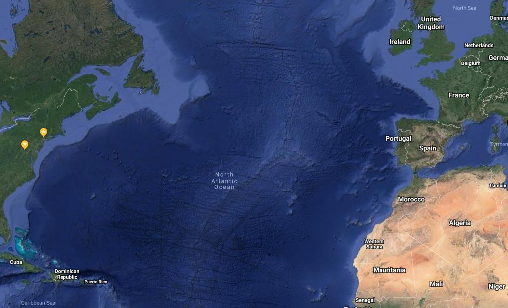 Working overseas, map of Atlantic Ocean