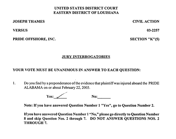 Jones Act Jury Form