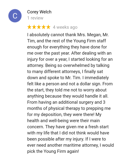 Former client Corey reviews maritime attorney Tim Young