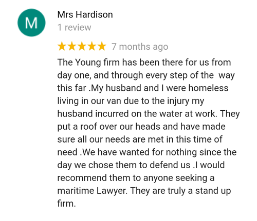Former client Hardison reviews maritime attorney Tim Young