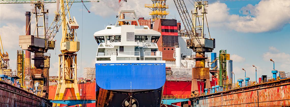 shipping cranes at a dock